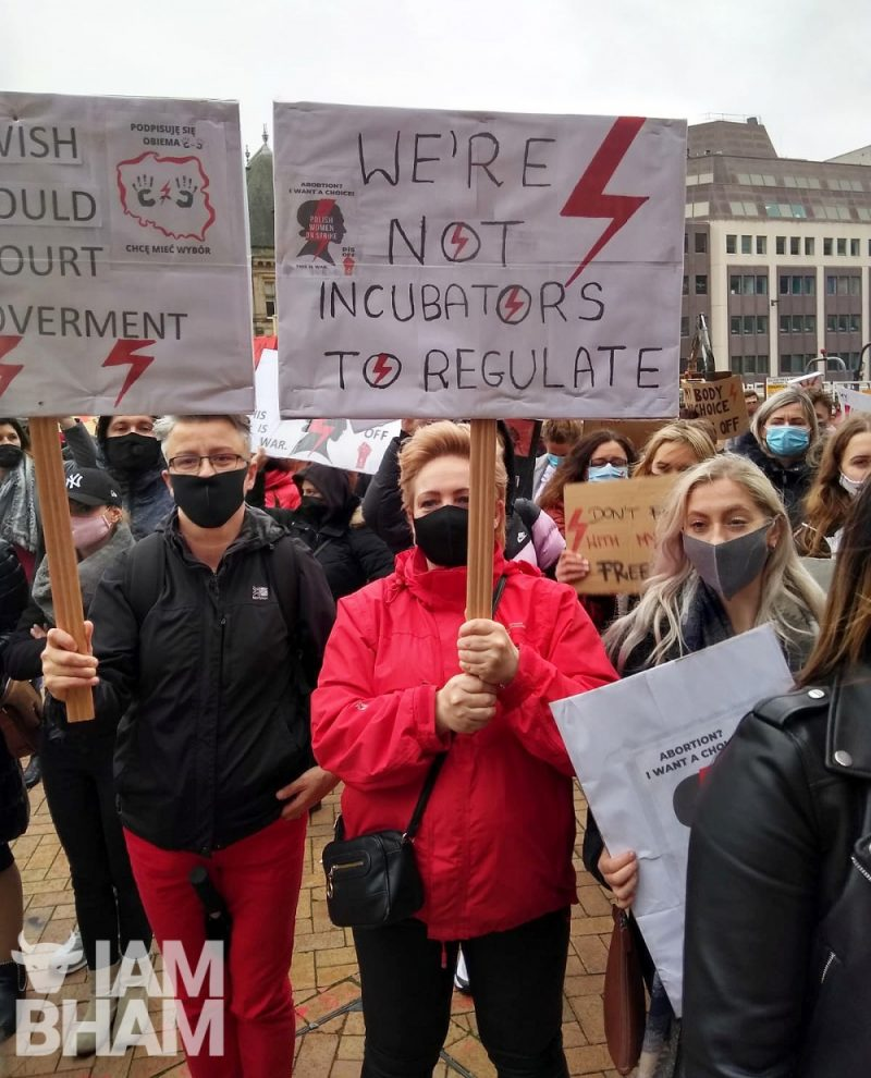 Women in Birmingham rally against new restrictive abortion rights in Poland