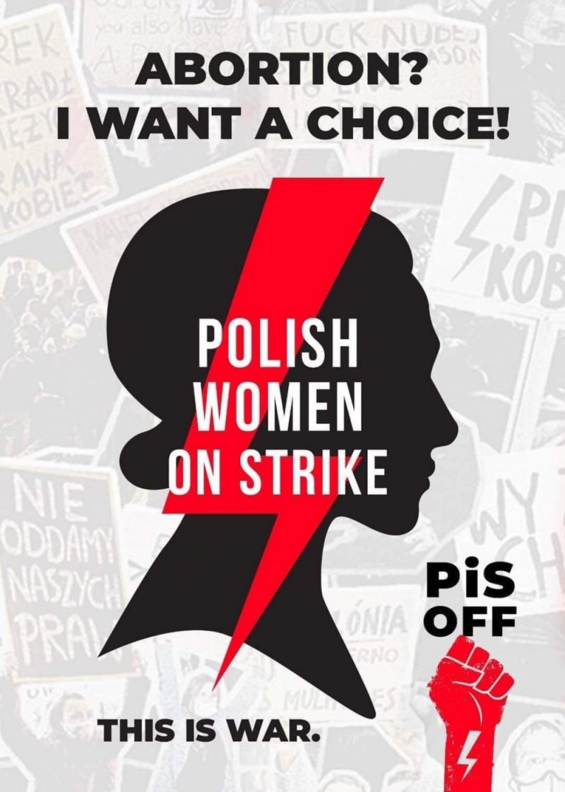 A poster from today's protest in Birmingham attacking Poland ruling party's stance on abortion rights