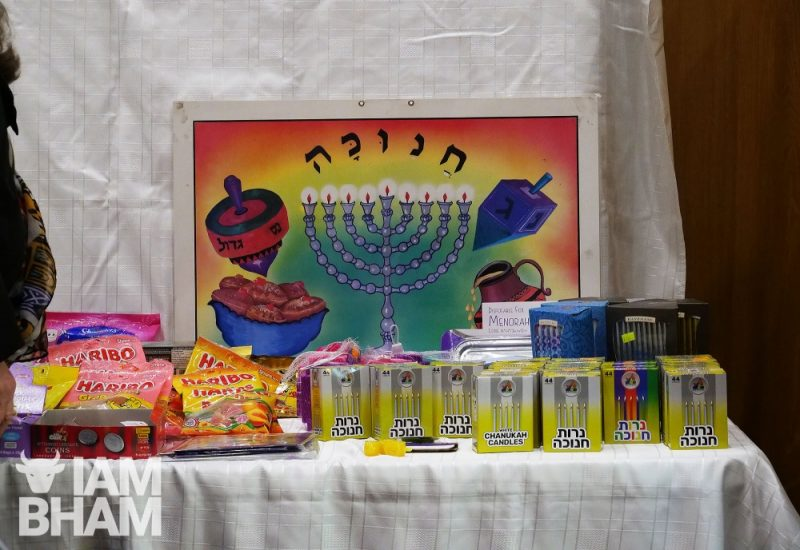 A Hanukkah display at the Birmingham Central Synagogue