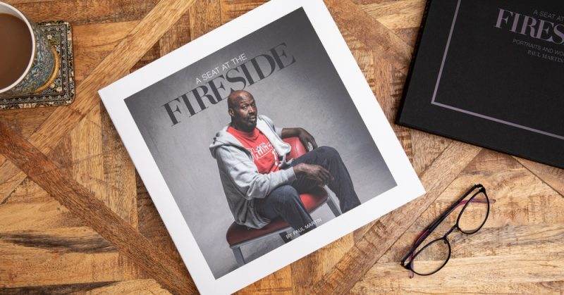 A Seat at the Fireside book by Paul Martin, documenting homeless stories in partnership with SIFA Fireside in Birmingham.