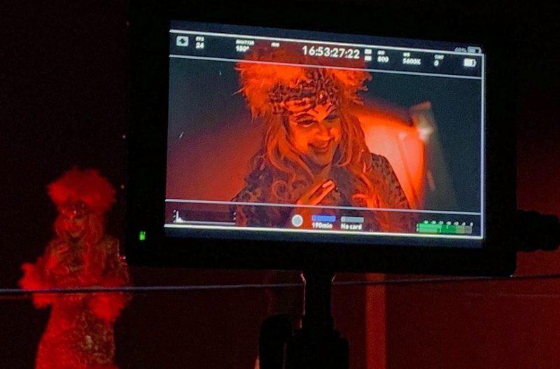 Harvey McDonald being filmed in character on the set of film Hellkat