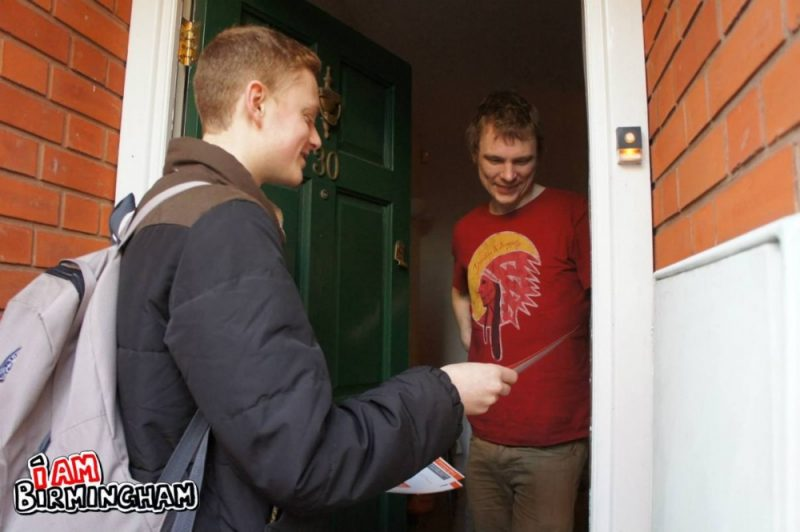 Luke Holland chats to residents while out canvassing in Kings Heath and Moseley