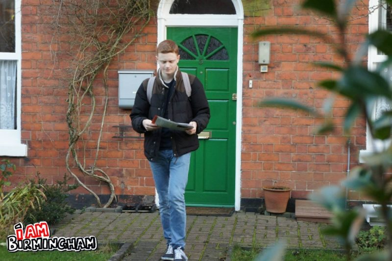 Luke Holland distributing his election flyers in Moseley and Kings Heath