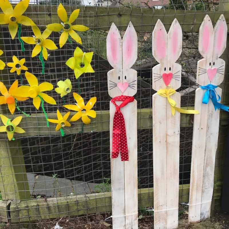 Easter decorations and artwork created by residents at Wylde Green Train Station