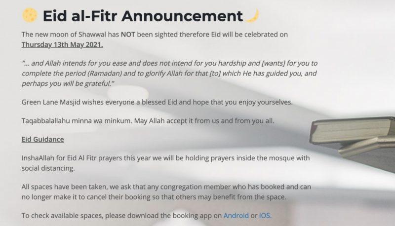 Green Lane Mosque announces Eid al-Fitr on their website