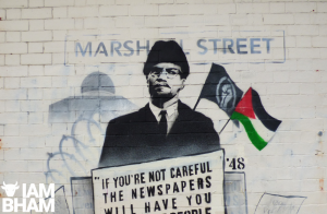 Birmingham artist unveils Malcolm X mural in solidarity with people of Palestine