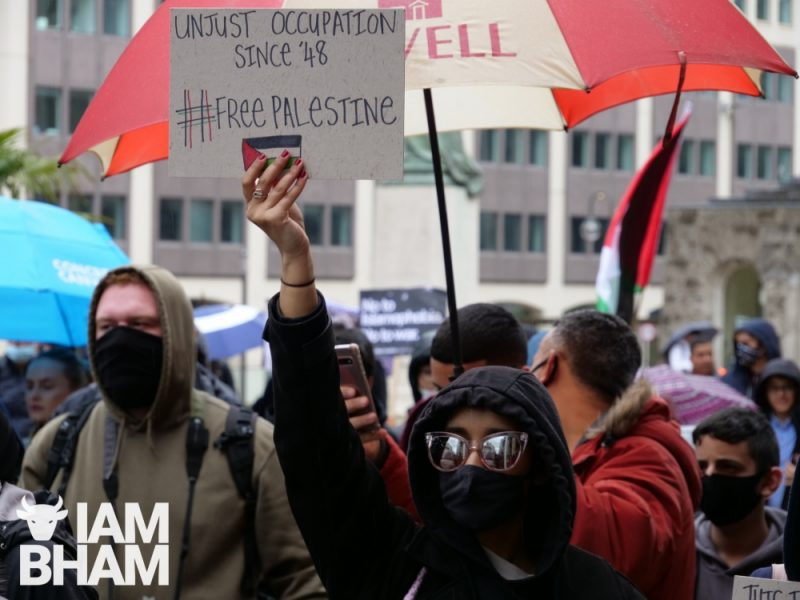 Birmingham protesters showed solidarity with Palestine with banners and chants