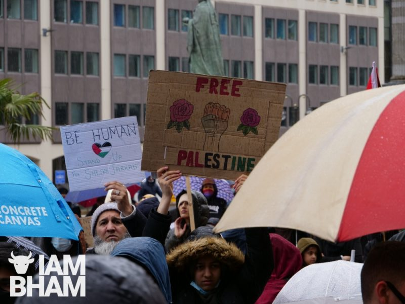 A 'Free Palestine' placard on display in Victoria Square in Birmingham