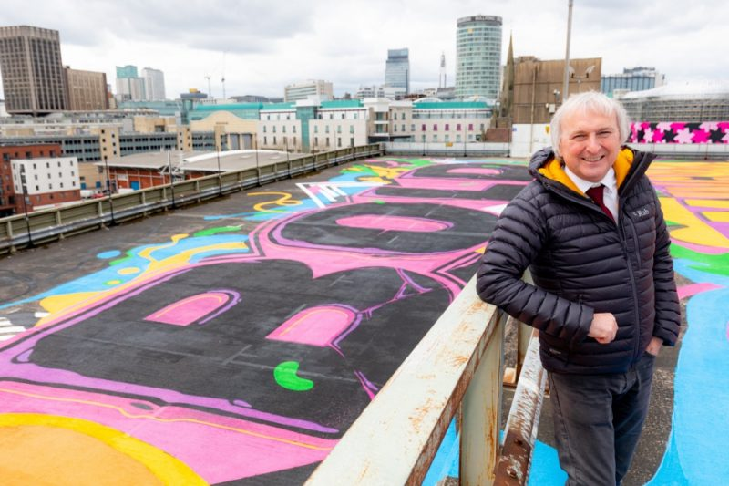 Cllr Ian Ward poses with the new Gent 48 artwork in Birmingham