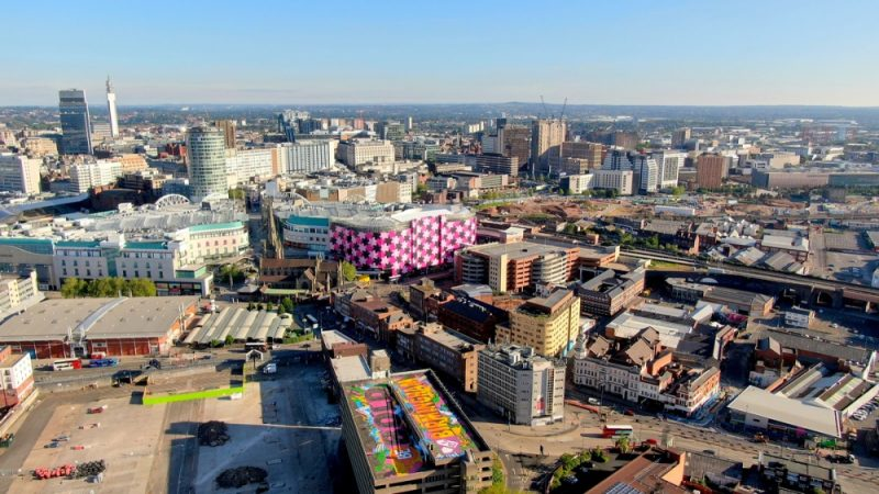 The Gent 48 artwork stands out in an aerial view of Birmingham's city landscape