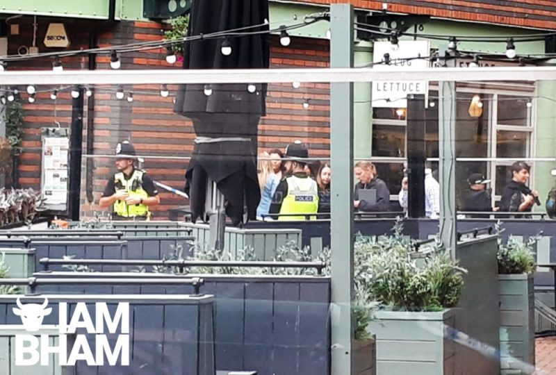 Police at the scene of the crime in Brindley Place off Broad Street yesterday (29 August)