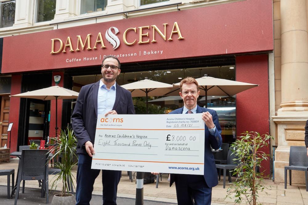 Birmingham's Damascena cafe donates £8,000 to Acorns Children's Hospice