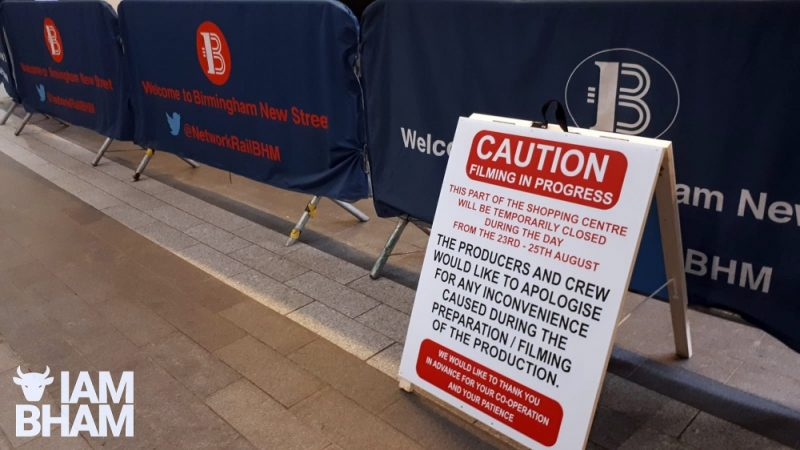 Signs up at New Street Station as Mission Impossible 7 filming is in progress in the building