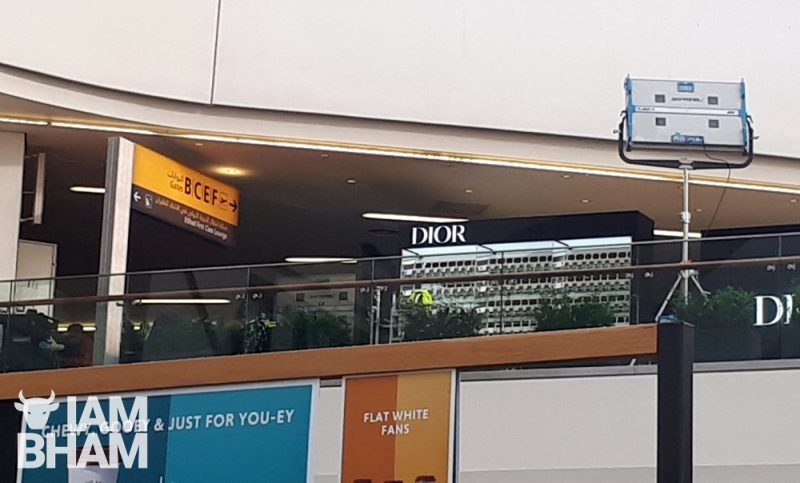 A fake Dior shopfront recreated in front of where Tesco is actually located