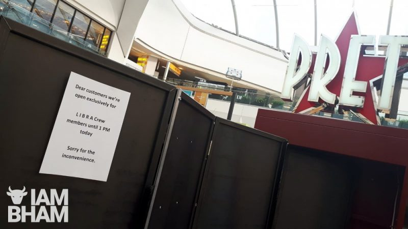 Pret cafe in New Street Station is only open to Mission Impossible 7 production crew until 1pm today