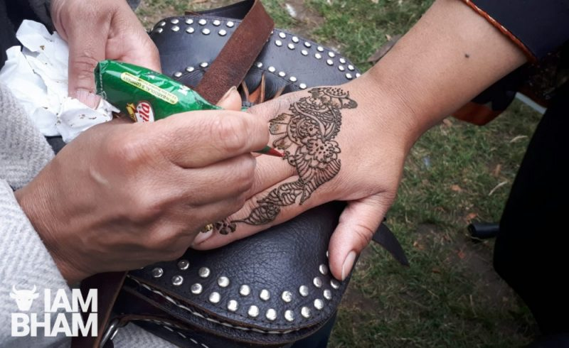 Henna painting at the Palestine fundraising family fun day in Aston Park
