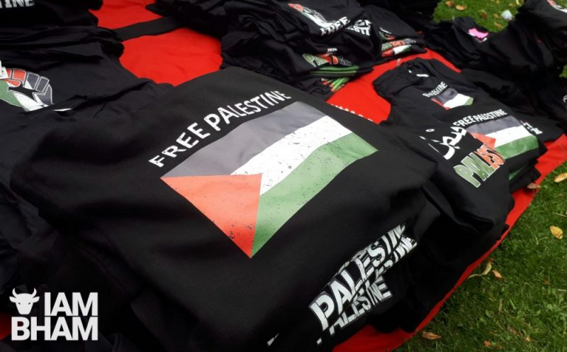 'Free Palestine' t-shirts on display at the family fun day