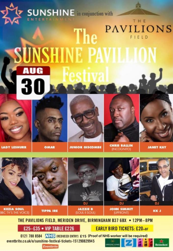 The Sunshine Pavilions Festival is taking place on Solihull on the outskirts of Birmingham on August 30
