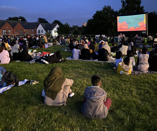 Young and old members of the community came together for the first open air cinema screening in Lozells
