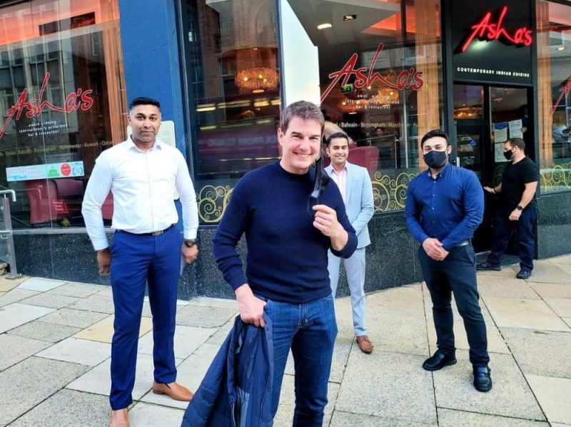Tom Cruise apparently outside Asha's Birmingham in Newhall Street yesterday