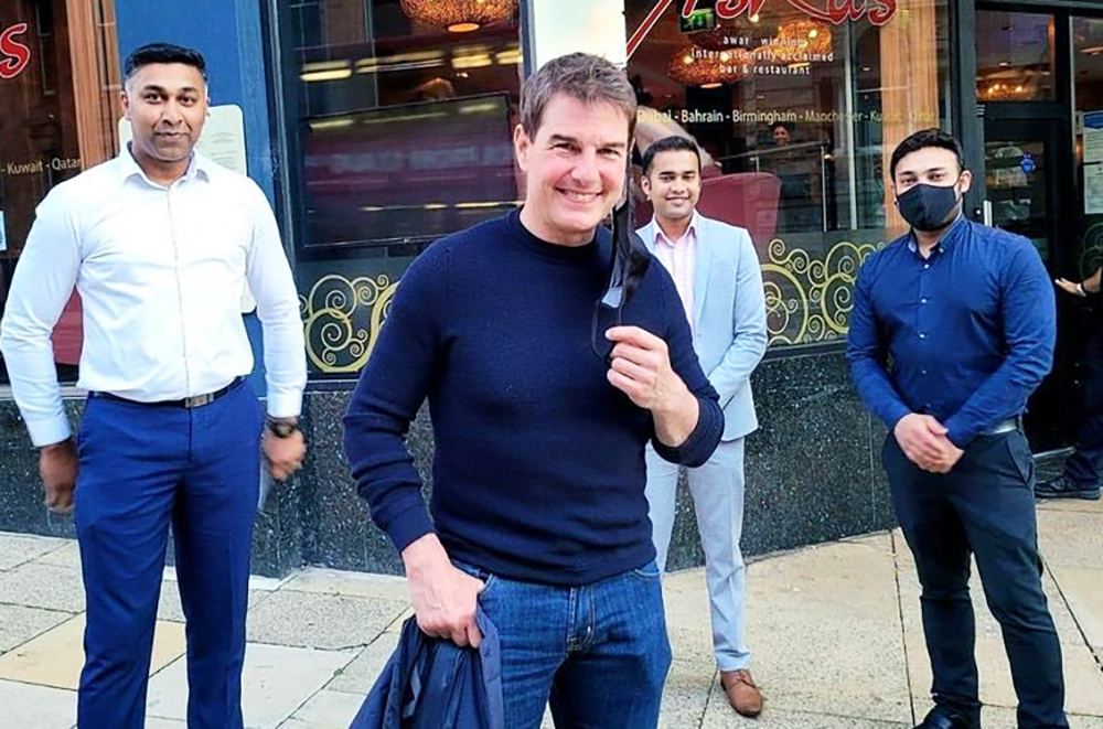 Tom Cruise enjoys a Chicken Tikka in Birmingham as Mission Impossible filming continues