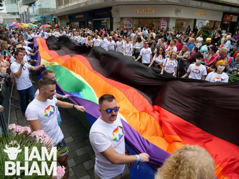 The Birmingham Pride parade making its way through High Street in the city centre on Saturday