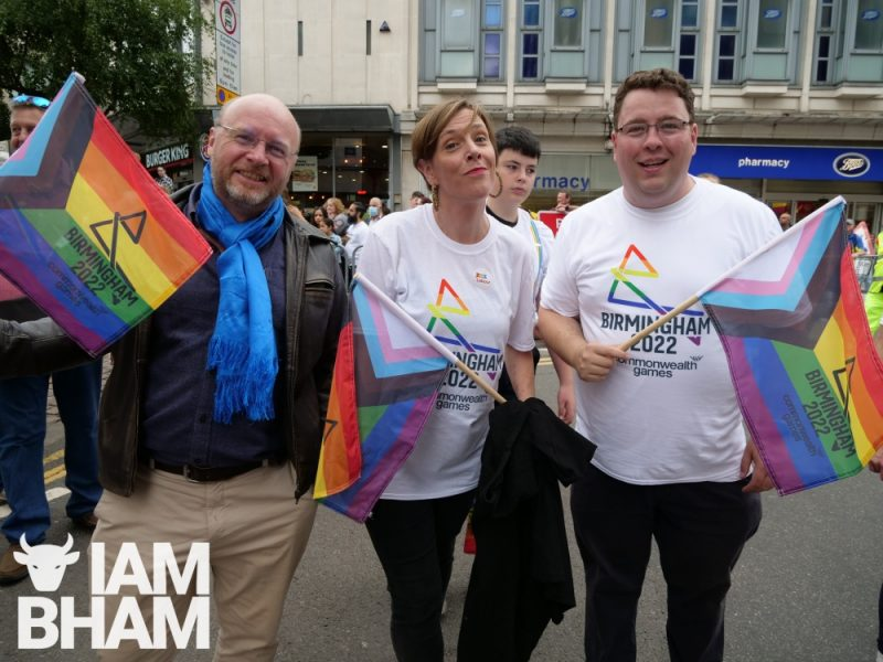 (L-R): Birmingham MPs Liam Byrne, Jess Phillips and Gary Sambrook supporting the Birmingham 2022 Commonwealth Games at Birmingham Pride