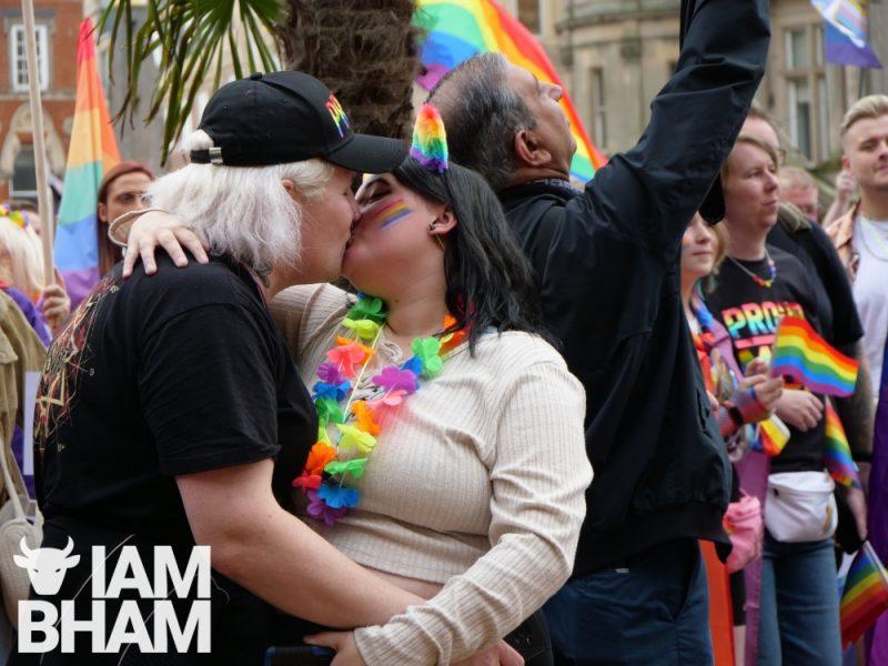 A couple kiss during Birmingham Pride 2021