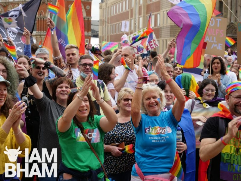 Crowds gathered in Victoria Square for the launch of the Birmingham Pride 2021 parade