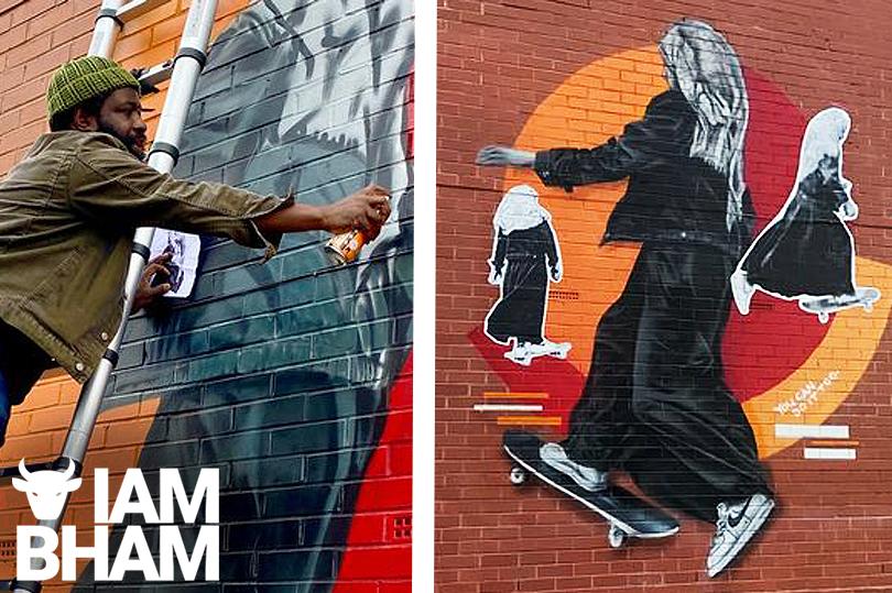 Street art mural of Muslim girl riding skateboard stuns Birmingham residents